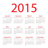 Calendar - 2015 Royalty Free Stock Image