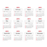 2015 Calendar. Simple 2015 calendar on white background Stock Illustration