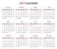 The 2017 calendar. Simple 2017 year calendar in black and red Stock Photo