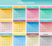 The 2016 calendar. Simple 2016 year calendar in bright colors Stock Images