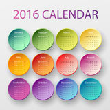 The 2016 calendar. Simple 2016 year circle calendar in bright colors stock illustration