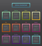 The 2016 calendar. Simple 2016 year square calendar in bright colors royalty free illustration