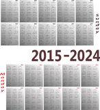 Calendar 2015-2024. Simple 2015-2024 year vector calendars. Starts both Sunday and Monday Royalty Free Stock Photo