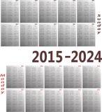 Calendar 2015-2024. Simple 2015-2024 year vector calendars. Starts both Sunday and Monday Royalty Free Illustration