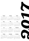 2017 calendar simply style black and white background illustration graphic for business Stock Photos