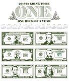 2019 calendar with six detailed, stylized bills stock illustration