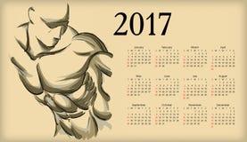 Calendar 2017. Sketch of an athlete Stock Photo