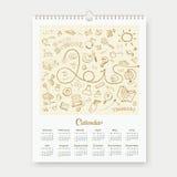Calendar 2015 sketch back to school design. Background, illustration vector illustration