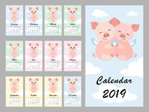 2018.09.19_calendar_sloth. Calendar 2019 with cute pig. Hugging Piggy. Symbol of the year in the Chinese calendar. Vector illustration vector illustration