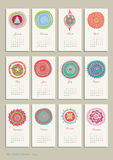 Calendar 2014. Small calendar for 12 months with pretty abstract picture Royalty Free Illustration