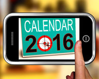 Calendar 2016 On Smartphone Shows Future Calendar. Or Annual Planning Royalty Free Stock Photos