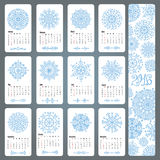 Calendar 2016.Snowflakes shapes,mandala. Calendar 2016 new year.Snowflakes decor,borders,dividers.Cyan decor elements,pattern.Montly card set.Vector Christmas Royalty Free Stock Photo
