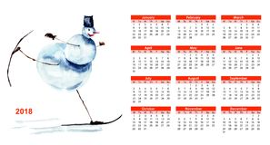 2018 calendar with Snowman. Watercolor painting Stock Photography