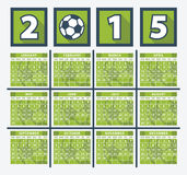 Calendar 2015. Soccer concept on white background Royalty Free Stock Photo