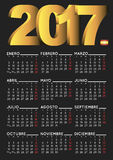 2017 calendar spanish black. 2017 black calendar in spanish. Year 2017 calendar. Calendar 2017. calendario 2017 Royalty Free Stock Photography