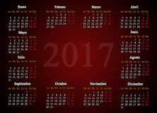 Calendar for 2017 in Spanish. On claret background with place for picture or advertising text Royalty Free Stock Images