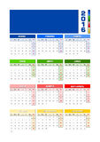 Calendar 2016 Spanish, colored seasons for Northern hemisphere. Calendar 2016 Spanish. Vector illustration with empty space for your logo. All elements sorted Royalty Free Stock Photos