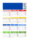 Calendar 2016 Spanish, colored seasons for Southern hemisphere. Calendar 2016 Spanish. Vector illustration with empty space for your logo. All elements sorted Stock Photos