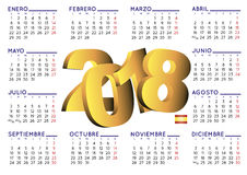 2018 calendar spanish horizontal stock photo
