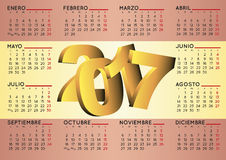 2017 calendar in spanish horizontal flag. 2017 elegant calendar in spanish with spain flag as background. Week starts on monday. Year 2017 calendar. Calendar Stock Image