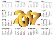 2017 calendar in spanish horizontal white. 2017 elegant calendar in spanish. Week starts on monday. Year 2017 calendar. Calendar 2017. calendario 2017 Stock Photo