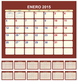 Calendar 2015. Calendar for 2015 (spanish language Royalty Free Stock Image
