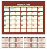 Calendar 2016. Calendar for 2016 (spanish language Stock Illustration
