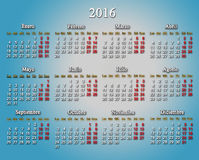 Calendar for 2016 in Spanish on the light blue. Beautiful calendar for 2016 in Spanish on the light blue Royalty Free Stock Photo