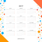 Calendar 2017 in Spanish simple modern. Template with a calendar for 2017 for design. Week starts from Monday Stock Photography