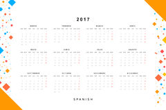 Calendar 2017 in Spanish simple modern. Template with a calendar for 2017 for design. Week starts from Monday Royalty Free Stock Images