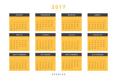 Calendar 2017 in Spanish simple modern. Template with a calendar for 2017 for design. Week starts from Monday Royalty Free Stock Photography