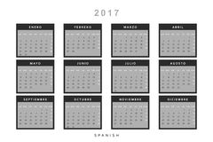 Calendar 2017 in Spanish simple modern. Template with a calendar for 2017 for design. Week starts from Monday Royalty Free Stock Image
