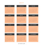 Calendar 2017 in Spanish simple modern. Template with a calendar for 2017 for design. Week starts from Monday Stock Photo