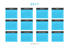 Calendar 2017 in Spanish simple modern. Template with a calendar for 2017 for design. Week starts from Monday Royalty Free Stock Photo