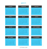 Calendar 2017 in Spanish simple modern. Template with a calendar for 2017 for design. Week starts from Monday Stock Photos