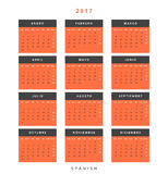 Calendar 2017 in Spanish simple modern. Template with a calendar for 2017 for design. Week starts from Monday Royalty Free Stock Photos