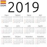 Calendar 2019, Spanish, Sunday. Simple annual 2019 year wall calendar. Spanish language. Week starts on Sunday. Sunday highlighted. No holidays highlighted. EPS Royalty Free Stock Photography