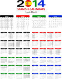 Calendar 2014 Spanish. Stock Images
