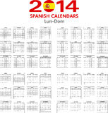 Calendar 2014 Spanish. Royalty Free Stock Photo