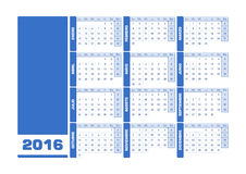 Calendar 2016 Spanish. Vector illustration with empty space for your contents. All elements sorted and grouped in layers for easy edition vector illustration