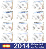 2014 Calendar Spanish. 2014 vector calendar. Twelve months in Spanish stock illustration