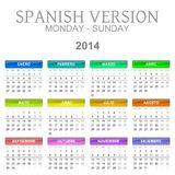 2014 calendar spanish version Royalty Free Stock Image