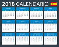 Calendar 2018 - Spanish Version Stock Images