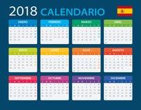 Calendar 2018 - Spanish Version Royalty Free Stock Photo
