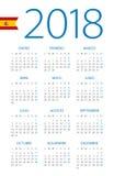 Calendar 2018 - Spanish Version Stock Photos