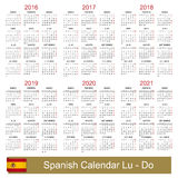 Calendar 2016-2021. Spanish calendar for years 2016-2021, week starts on Monday vector illustration