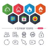 Fire flame icons. Heat signs. Calendar, Speech bubble and Download signs. Fire flame icons. Heat symbols. Inflammable signs. Chat, Report graph line icons. More Stock Photos