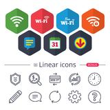 Wifi Wireless Network icons.. Calendar, Speech bubble and Download signs. Free Wifi Wireless Network icons. Wi-fi zone locked symbols. Password protected Wi-fi Royalty Free Stock Photography