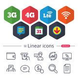 Mobile telecommunications icons. 3G, 4G and LTE. Calendar, Speech bubble and Download signs. Mobile telecommunications icons. 3G, 4G and LTE technology symbols royalty free illustration