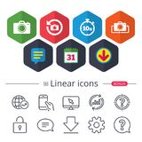 Photo camera icon. Flip turn or refresh signs. Calendar, Speech bubble and Download signs. Photo camera icon. Flip turn or refresh symbols. Stopwatch timer 10 Royalty Free Stock Images